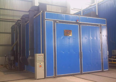 China Single / Double Gun Sandblasting Room With Sand Blasting Pot Casting Parts Cleaning distributor